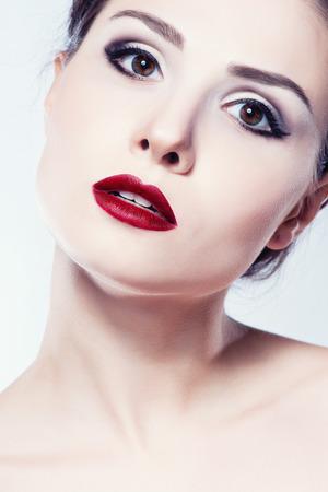 model face: Fashion model girl face, beauty woman make up. Stock Photo
