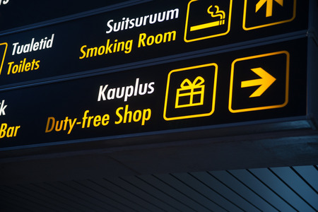 duty: Duty Free board in Airport Stock Photo