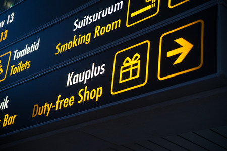 light duty: Duty Free board in Airport Stock Photo