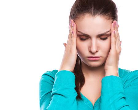 Ból głowy. Kobieta o ból głowy. Chory. Grypa