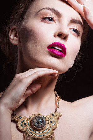 fashion and beauty: Sexy Beauty Girl with Red Lips and Nails. Provocative Make up. Luxury Woman with Blue Eyes. Fashion Brunette Portrait. Gorgeous Woman Face.