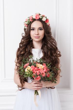 bride: Portrait of beautiful bride. Wedding dress. Wedding decoration