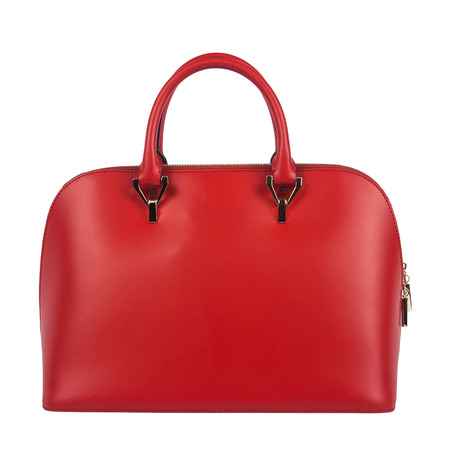 Czerwona torba kobiety na białym tle