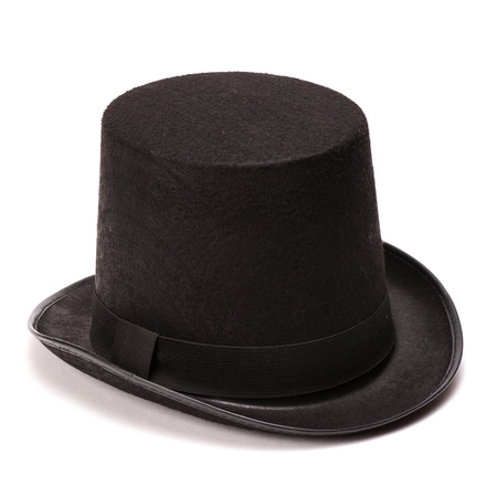 tophat: Black tophat top hat isolated on the white Stock Photo