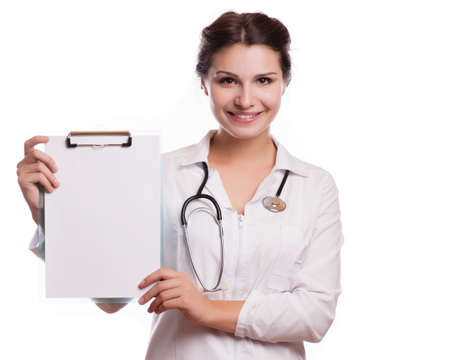 copyspase: Portrait of young female doctor showing something or copyspase for product or sign text,