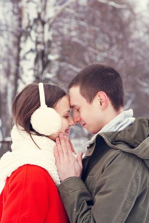 ragazza innamorata: Happy sorridente coppia in amore. Archivio Fotografico
