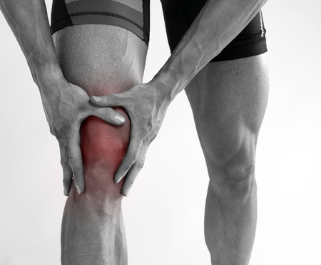 hurt: Young man with knee pain.
