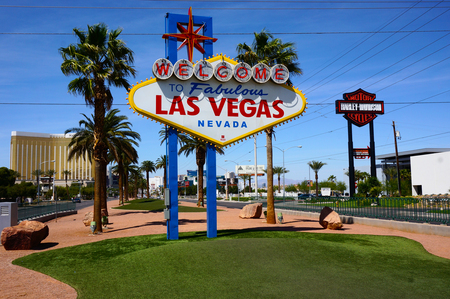 Famous Las Vegas sign on bright sunny day. Editorial