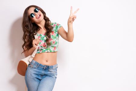 유행: Cool hipster student woman wearing eyewear glasses . Caucasian female university student looking at camera smiling happy.