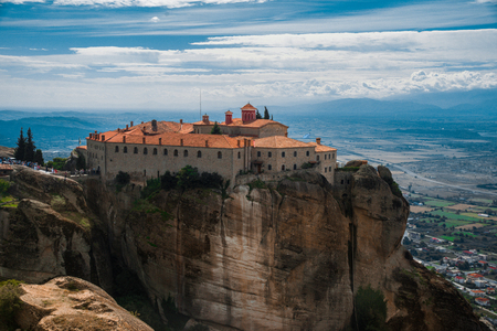 monastery: Meteora monasteries, the Holy Monastery of Varlaam at foreground, Greece. Stock Photo