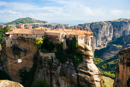 monasteries: Meteora monasteries, the Holy Monastery of Varlaam at foreground, Greece. Stock Photo