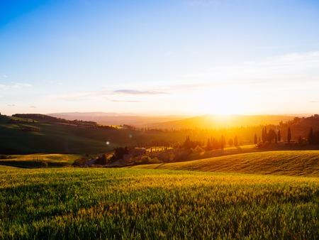 Beautiful tuscany landscape at sunset Italy. Tuscany