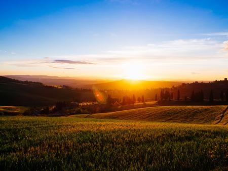 Beautyful Tuscany fields panoramic landscape - Italy. Stock Photo