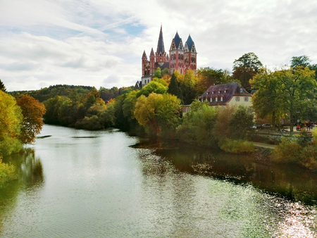 hessen: Panoramic view to Lahn and Limburg Cathedral.