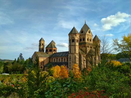 Old medieval benedictine Abbey in Maria Laach, Germany, first founded in 1093 Stock Photo