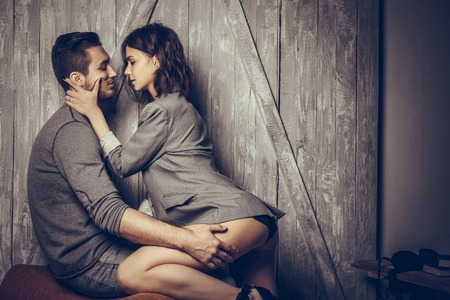 Close up of sensual and cute couple. Banque d'images