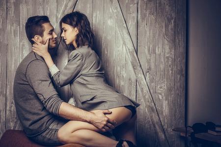 Sluit omhoog van sensueel en leuk paar. Stockfoto
