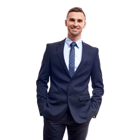 Half-length portrait of business man with crossed hands, isolated on white background