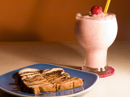 woodfire: strawberry smoothie  bread toasted