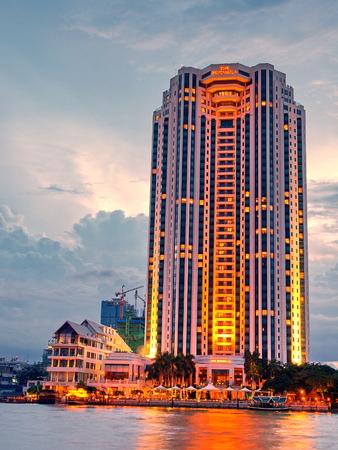 chao praya: A view of Chao Praya River, Bangkok City on high building, Thailand