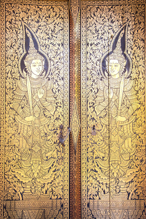 asian angel: Thai Traditional art,Angel,Temples door Stock Photo