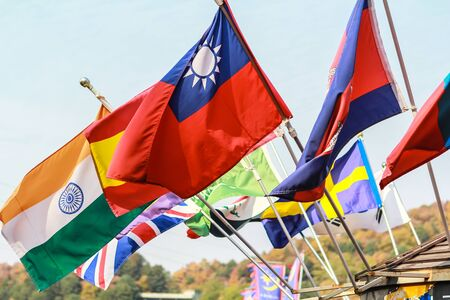 international flags: International Flags blowing in the wind Stock Photo