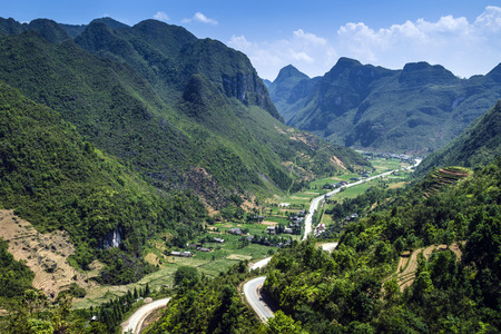 landscape flowers: Amazing mountain plateau landscape in Dong Van karst geological global park, hagiang, Vietnam Stock Photo