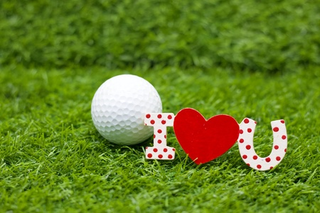 Golf with I love you on grass