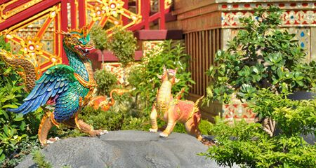 Statues of Skun Ccseht animals in Thai literature photo