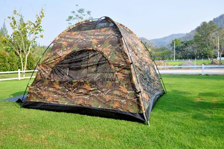 campground: Tent camping in a campground in Garden