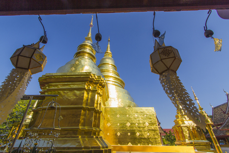 Old Church and golden pagoda at Phra Singh temple at the northern of Thailand, Chiangmai, Thailand Editorial