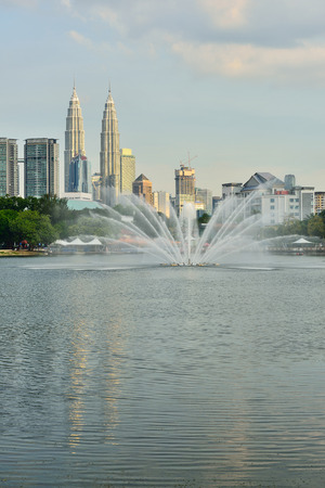 twin tower: View of Twin Tower and reflection at Titiwangsa Lake Garden. Located in the north-eastern fringe of Kuala Lumpur.