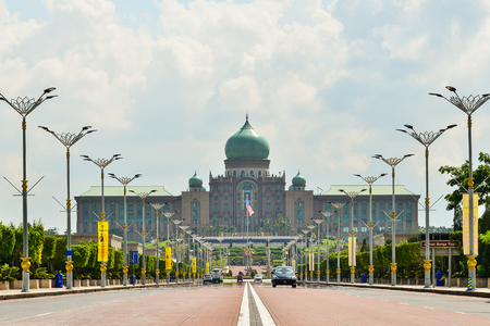 practiced: Persiaran Perdana Avenue in Putrajaya, Malaysia. Putrajaya is a symbol of the administration of a democracy that is practiced in Malaysia.