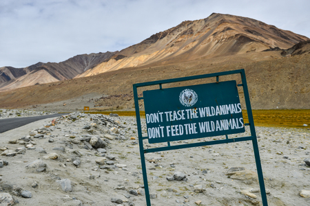 to tease: Signs arent allowed to feeds and tease the animals. On the way before reaching Pangong Lake in Leh Ladakh, India Stock Photo