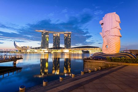 personification: The Merlion statue fountain and the Singapore skyline. The landmark statue is considered the personification of Singapore.