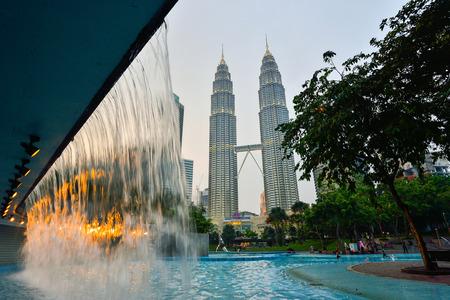 KUALA LUMPUR, MALAYSIA. MARCH 18, 2016. Twin tower at twilight in Kuala Lumpur, Malaysia.