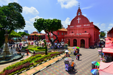 protestant: MALACCA, MALAYSIA - JULY 9, 2016: Christ Church & Dutch Square in Malacca City, Malaysia. It was built in 1753 by Dutch & is the oldest 18th century Protestant church in Malaysia.