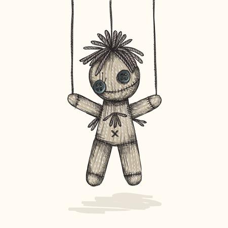Spooky Voodoo Doll In A Sketch Style