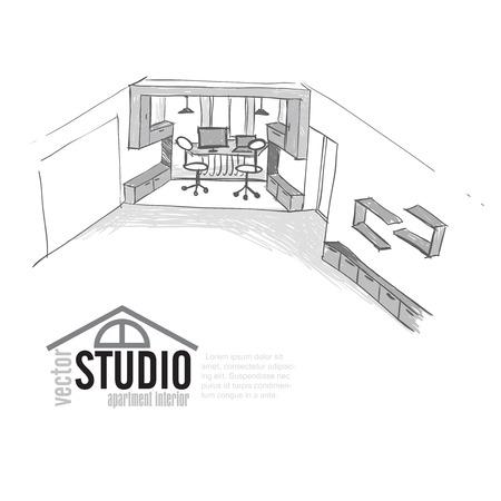 home office interior: Home Office Interior Sketch