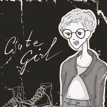modest: Modest Girl, Hipster Style Illustration