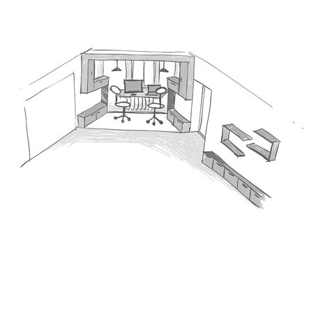 Home Office Interior Sketch photo