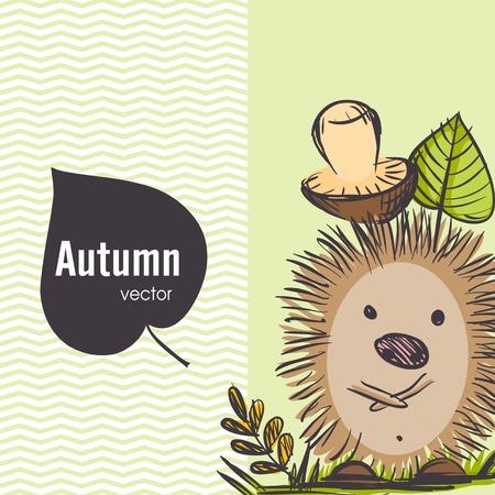 cartoon hedgehog: Cartoon Hedgehog With Mushroom