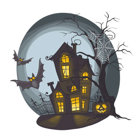 Halloween Monster House With Bat And Pumpkins photo