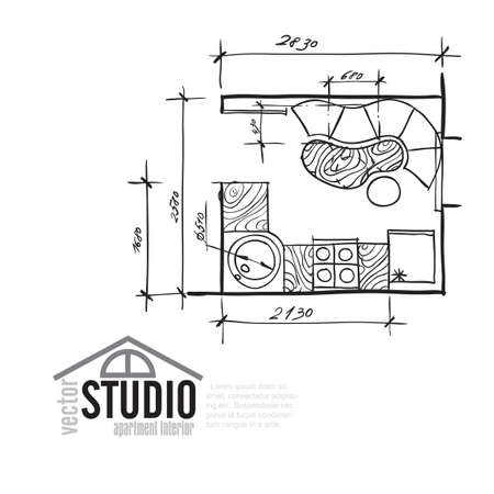 paper art projects: Interior Drawing Kithen Plan