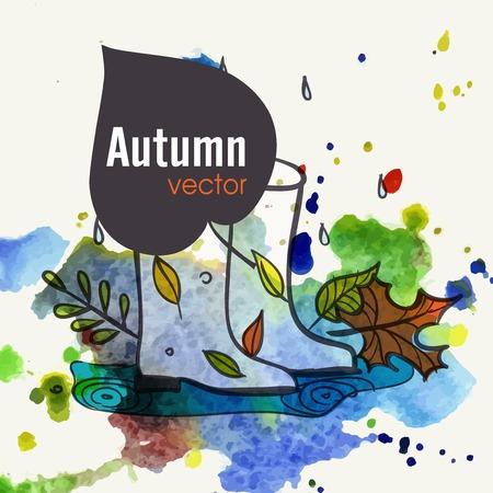 rubberboots: Gummistiefel steht in einer Pf�tze