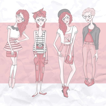 Young Fashion Girls, Hipster Style, Eps 10 Vector Illustration