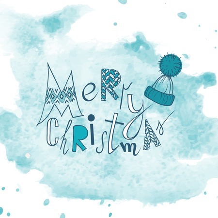 christmas hat: Funny Typography Christmas Background