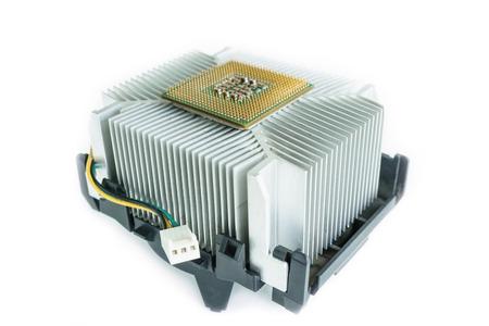 heatsink with cpu in isometric bottom view photo