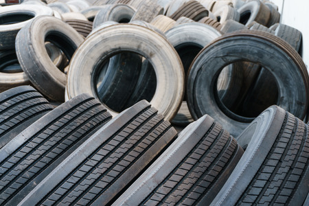 Tire stack background, Car ties selective focus photo