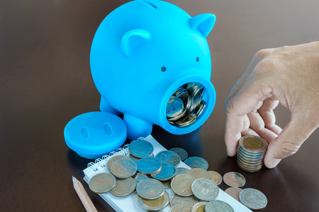 collect: Collect money from saving in Piggy Bank, Hand holding money from Piggy Bank Stock Photo